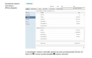 Uživatelské rozhraní web serveru Siemens